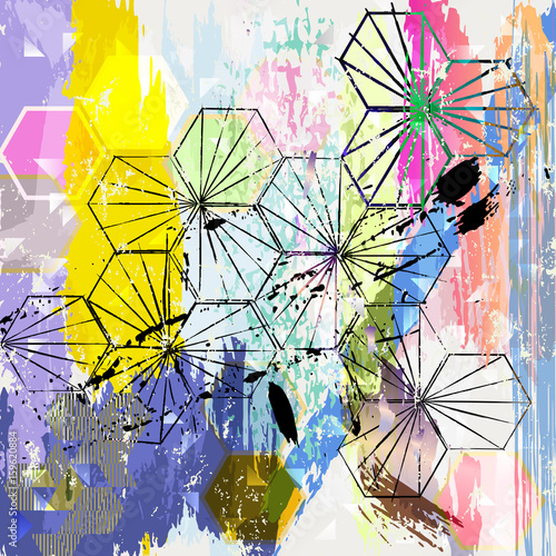 Aluminium Abstract met Penseelstreken abstract background illustration, with strokes, splashes and geometric lines