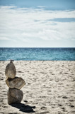 Stone tower on the beach, zen image