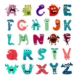 Fototapety Cartoon flat monsters alphabet big set icons. Colorful monster kids toy cute monsters tongue. Vector