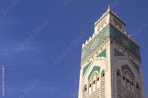 Grande Mosque Hassan II, minaret detail, in Casablanca. Poster