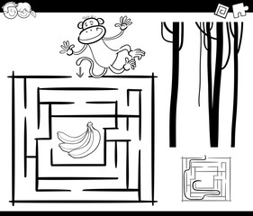maze with monkey coloring page