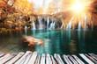 Beautiful autumn colors waterfall