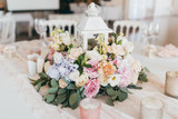 Pink wedding decoration with white and green flowers - 159637298