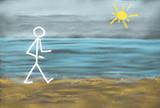 Mensch im Urlaub, der an einem Strand spazieren geht