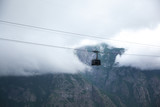 Cable car with fog at high altitude