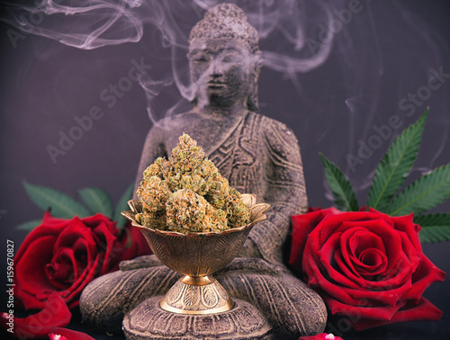 Foto op Canvas Spa Zen background with roses and cannabis buds - medical marijuana and meditation concept