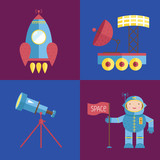 Space objects cartoon icons. Flying rocket, exploration rover, telescope on stand, astronaut with flag vector illustrations isolated on blue and violet background.
