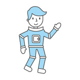 astronaut comic character icon vector illustration design