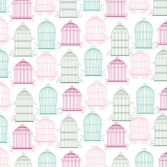 background with birdcage icons vector illustration