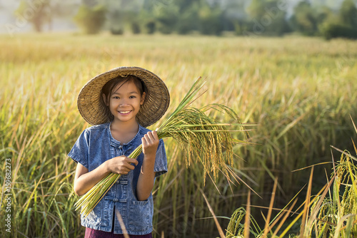 Asian children farmer on yellow rice field. Poster