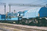 Blue railroad crane on the ways.