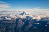 Snow Capped Mount Hood From Plane
