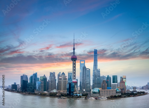 shanghai skyline with burning clouds
