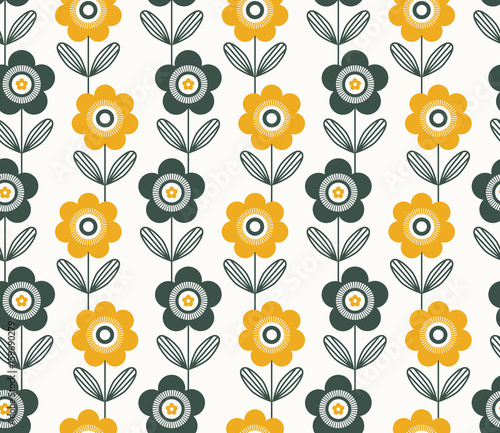seamless retro pattern with flowers - 159690279