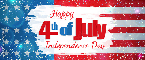 Happy 4th of July, Independence Day greeting card horizontal banner. Happy July Fourth. Vector