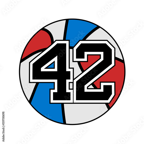 Ball Of Basketball Symbol With Number 42 Buy Photos Ap Images