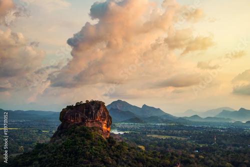Fotobehang Lion Sunset over the Lion Rock in Sigiriya, Sri Lanka