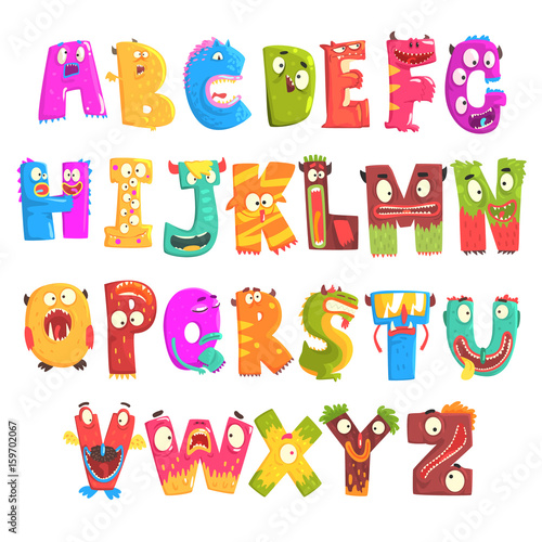 Colorful cartoon children English alphabet with funny monsters. Education and development of children detailed colorful Illustrations