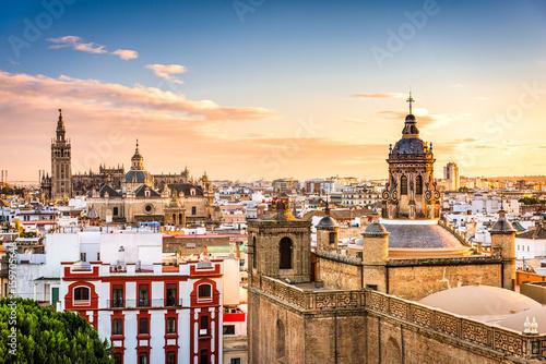 Leinwanddruck Bild Seville, Spain Skyline