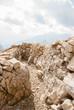 Quadro Dolomiti, Italy. Walking trenches on the rocky mountains of Lagazuoi Mountain.