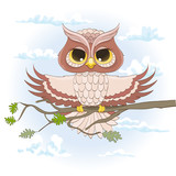 cartoon owl sitting on a branch with open wings. vector illustration