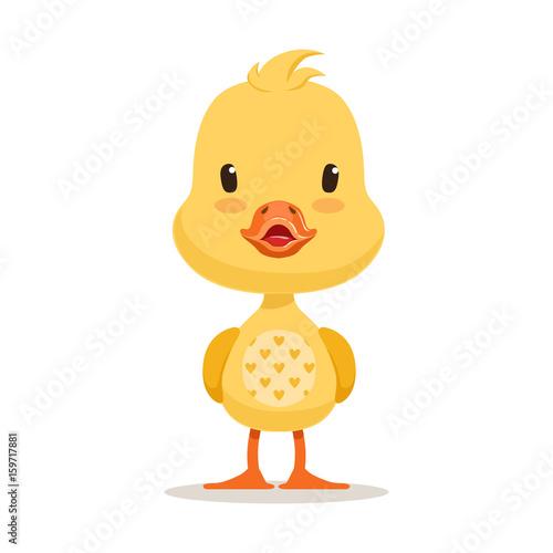 Sweet yellow duckling, emoji cartoon character vector Illustration