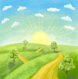 cartoon landscape with road, trees, sunrise and sky with clouds