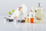 Spa concept. Aroma oil, candles, stones,orchid flowers