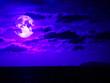 Leinwandbild Motiv super moon and cloud moving in night sky