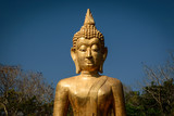 Golden Buddha statue in Buddhist temple or wat, is public domain or treasure of Buddhism. (Shot at outdoor ,public area)