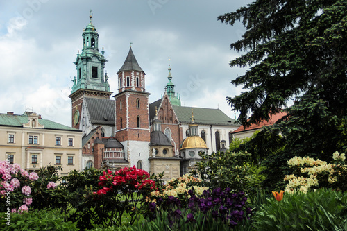Wawel Castle courtyard with cathedral and garden in Cracow, Poland