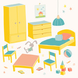 Set of furniture for children room. Kids small furniture.Bed, table with children's chairs, wardrobe and chest. Hand drawn cartoon illustration on white background. Baby shower design elements.