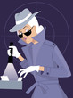Female secret agent or private detective searching a file cabinet, EPS 8 vector illustration