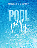 Fototapety Pool party poster with blue water ripple and handwriting text. Vector illustration