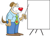 Cartoon illustration of a dog pointing to a chart.