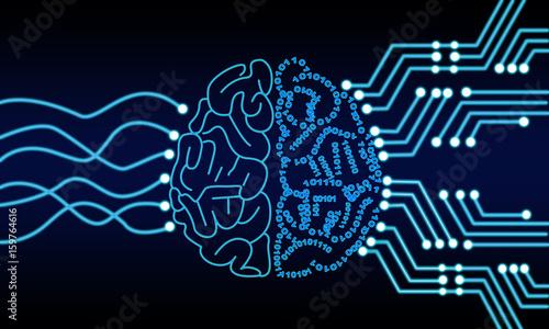 Artificial Intelligence Human Brain Processor Circuit. Cybernetic Brain. Machine Learning Technology Concept Illustration.