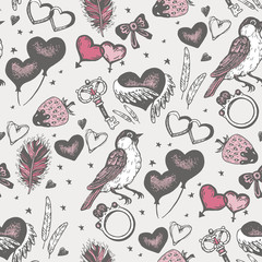 Bird with pink heart seamless vector pattern.