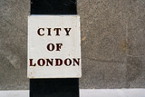 Bollard with City of London wording - copy space provided