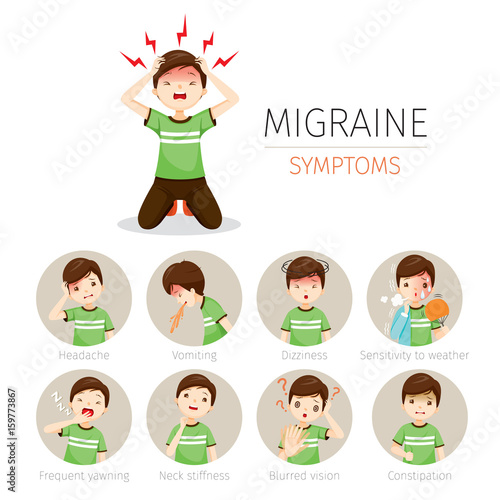 Young man with migraine symptoms icons set head brain internal young man with migraine symptoms icons set head brain internal organs body ccuart Images