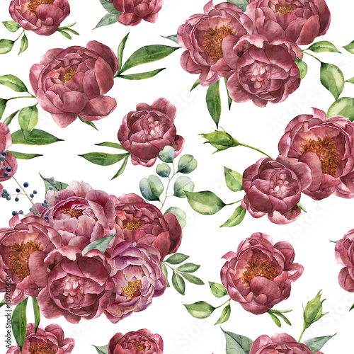 Watercolor pattern with peony, eucalyptus and greenery. Hand painted floral ornament with flowers and leaves isolated on white background. Vintage botanical illustration for design. - 159781420