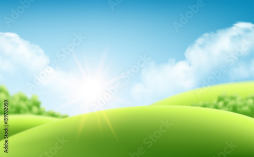 Fotobehang Lime groen Summer nature sunrise background, a landscape with green hills and meadows, blue sky and clouds. Vector illustration
