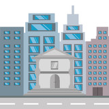 cityscape building with street metropolis vector illustration
