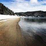 Beautiful day on beach in winter in Newfoundland, Canada