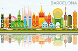 Barcelona Skyline with Color Buildings, Blue Sky and Reflections.