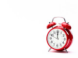 Red clock isolated on white - 159807875