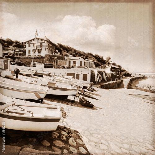 Port de pêche de Guéthary (Pays-basque français) / Effet photo ancienne Poster