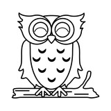 happy cute  owl icon image vector illustration design  black line