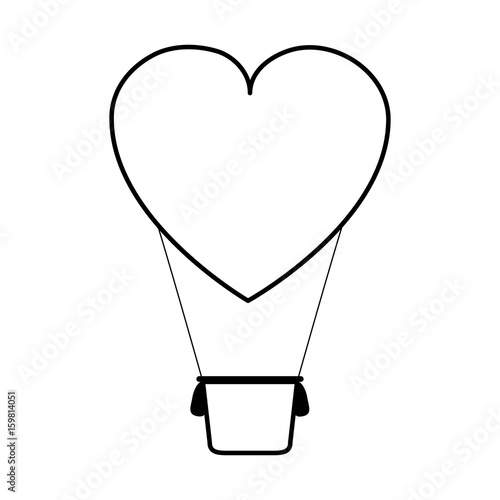 heart shape hot air balloon love valentines day related icon icon image vector illustration design  black line