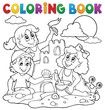 Coloring book children and sand castle