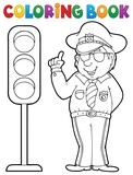 Coloring book policeman with semaphore